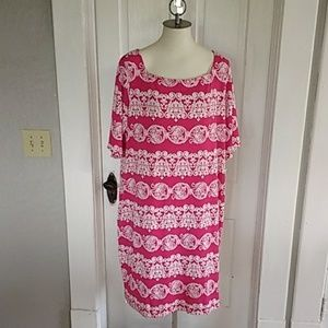 Tiana B shift dress/ NWT/ Hot pink and White